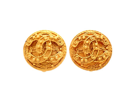 Authentic vintage Chanel earrings Round CC logo Decorative