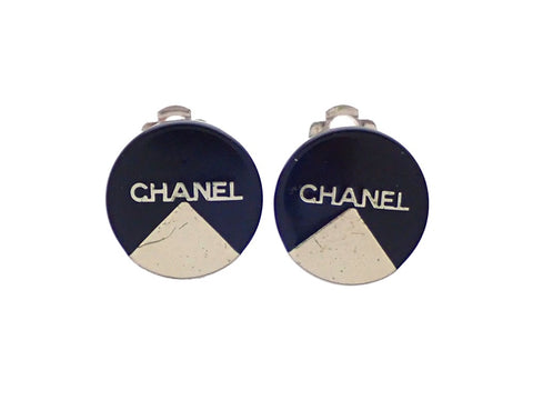 Authentic vintage Chanel earrings Black Round Silver Logo Quadrant