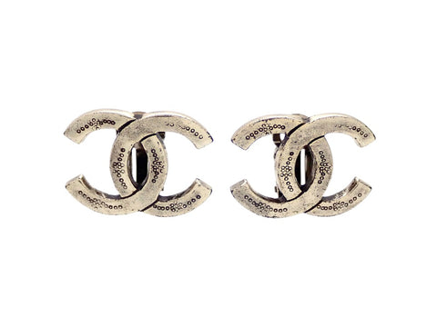 Authentic vintage Chanel earrings Silver CC logo double C engraved