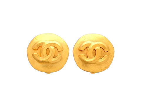 Authentic vintage Chanel earrings CC logo Round