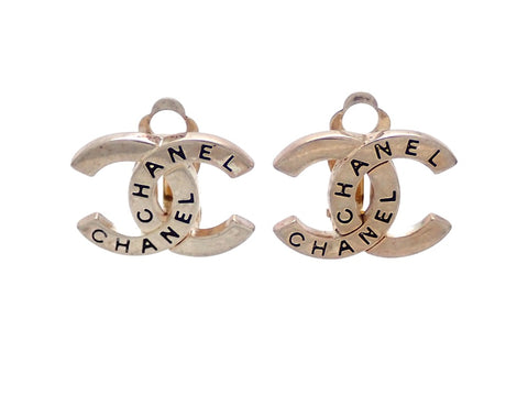 Authentic vintage Chanel earrings Silver CC Engraved Logo double C