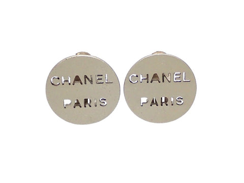 Authentic vintage Chanel earrings Silver Round Punched Logo