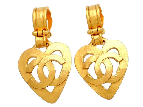 Authentic vintage Chanel earrings CC Logo Heart Dangled
