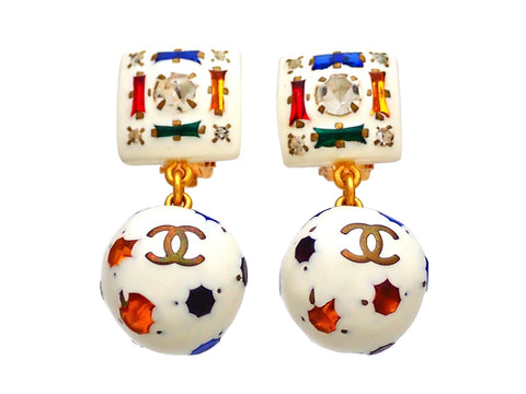 Authentic vintage Chanel earrings Multi Color Stones Square Clip CC logo Ball Dangled