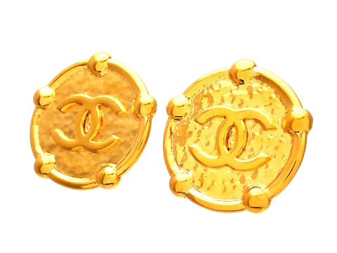 Authentic vintage Chanel earrings Gold Medal CC logo