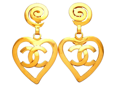 Authentic vintage Chanel earrings Whorl Clip Heart CC logo Dangled