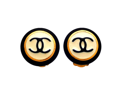 Authentic vintage Chanel earrings Black White Round CC logo