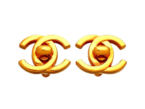 Authentic vintage Chanel earrings Small turnlock CC logo double C