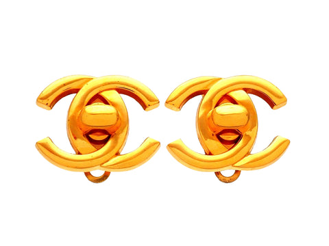 Authentic vintage Chanel earrings turnlock CC logo double C