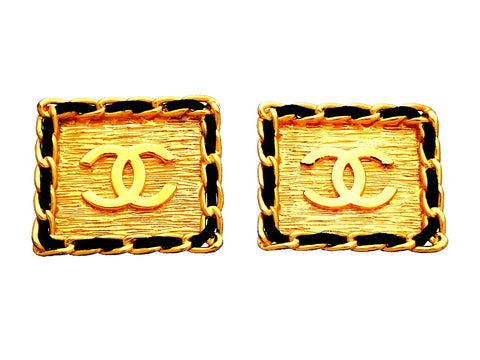 Authentic vintage Chanel earrings Square CC logo Black Leather Chain Frame