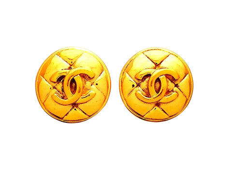 Authentic vintage Chanel earrings Quilted Round CC logo