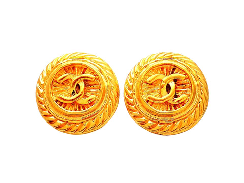 Authentic vintage Chanel earrings Round Rope CC logo