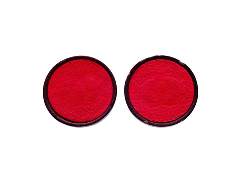 Authentic vintage Chanel earrings Red Leather Round Black Frame Fuzzy CC logo