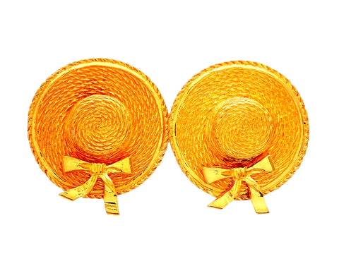 Authentic vintage Chanel earrings Ribbon Straw Hat
