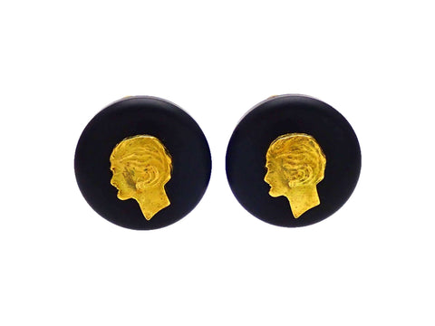 Authentic vintage Chanel earrings Black Round Gold COCO Profile