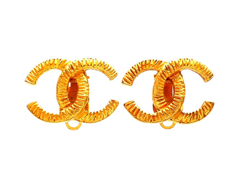 Authentic vintage Chanel earrings gold CC logo double C