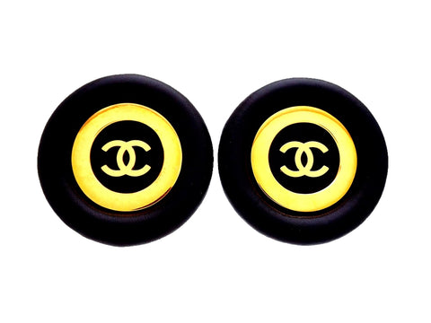 Authentic vintage Chanel earrings Black round Gold Circle CC logo