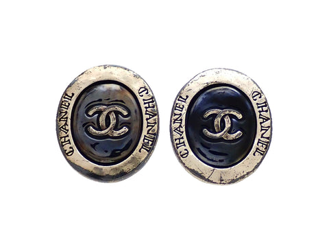 Authentic vintage Chanel earrings Oval Silver Navy CC Logo