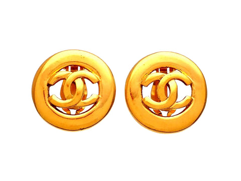 Authentic vintage Chanel earrings Gold Round CC Logo