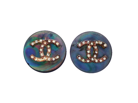Authentic vintage Chanel earrings Iridescent Round Rhinestone CC logo