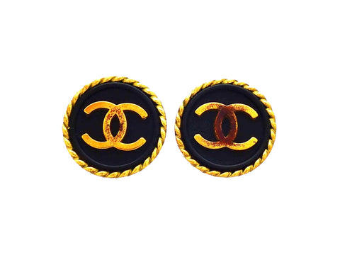 Authentic vintage Chanel earrings Rope Framed Black Round Gold CC logo