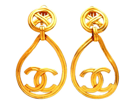 Authentic vintage Chanel earrings Round Cross clip Teardrop Hoop CC logo dangled
