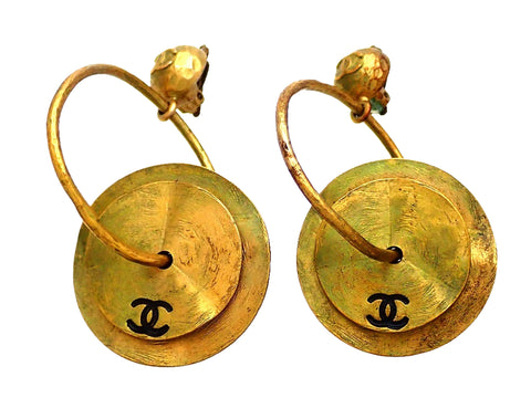 Authentic vintage Chanel earrings dark gold hoop CC logo two round plates dangled