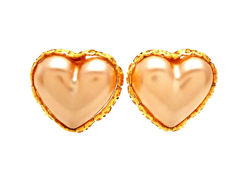 Authentic vintage Chanel earrings faux heart pearl CC logo frame