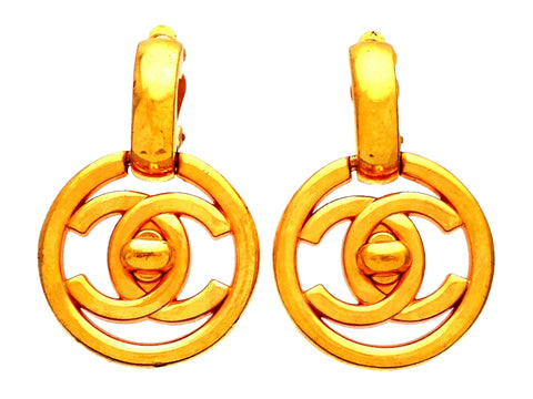 Authentic vintage Chanel earrings CC turnlock logo round dangled