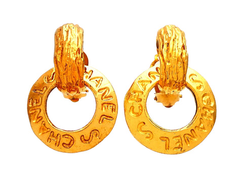 Authentic vintage Chanel earrings engraved leter hoop dangled