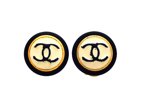 Authentic vintage Chanel earrings black white CC logo round