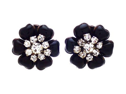 Authentic vintage Chanel earrings Black gripoix glass Flower Rhinestone