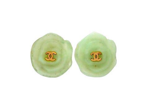 Authentic vintage Chanel earrings Pale Green Camellia CC logo
