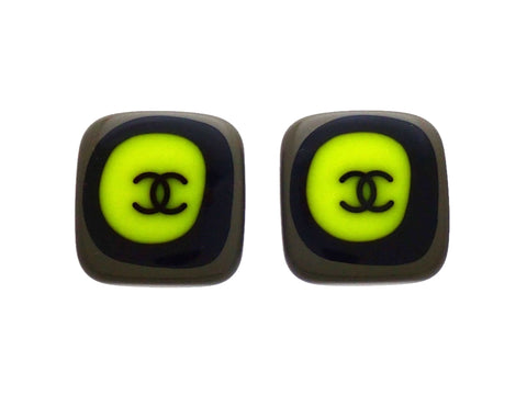 Authentic vintage Chanel earrings Gray Black Green Square CC logo