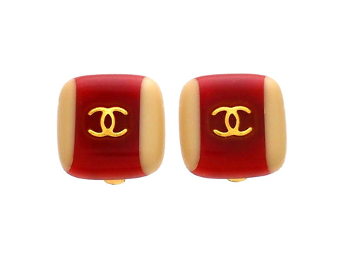 Authentic vintage Chanel earrings Beige Red Square Gold CC logo