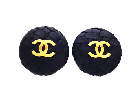 Authentic vintage Chanel earrings Mesh Black Leather CC logo Round