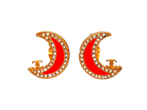 Authentic vintage Chanel earrings Red Crescent Moon Rhinestone CC logo