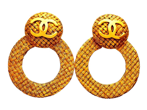 Authentic vintage Chanel earrings 2-way Mesh CC Logo Clip Round Hoop Dangled