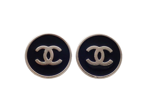 Authentic vintage Chanel earrings Silver Black Round CC logo