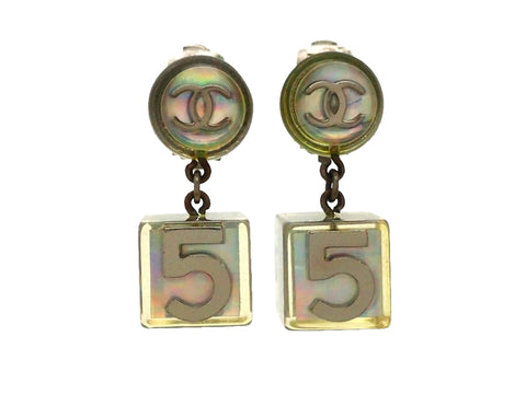 Authentic vintage Chanel earrings Silver Clear Round CC Logo No.5 Cube Dangled