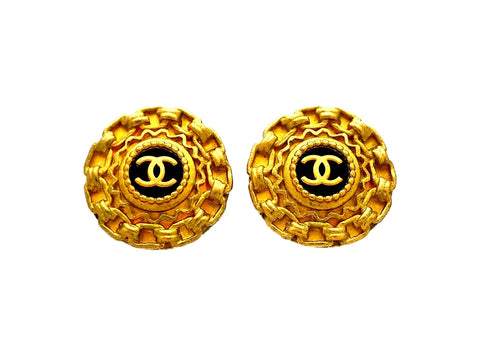 Authentic vintage Chanel earrings Decorative CC logo Round