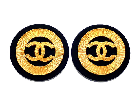 Authentic vintage Chanel earrings Black Gold Round CC Logo