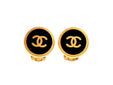 Authentic vintage Chanel earrings Black Gold CC logo Round