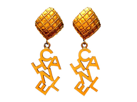 Authentic vintage Chanel earrings Mesh Square Clip Letter Logo Dangled
