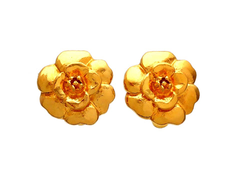 Authentic vintage Chanel earrings Gold Camellia