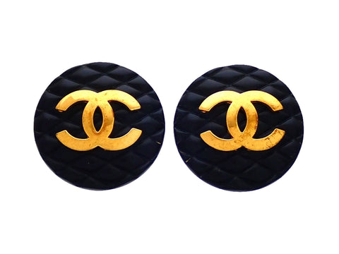Authentic vintage Chanel earrings Quilted Black Round Gold CC logo