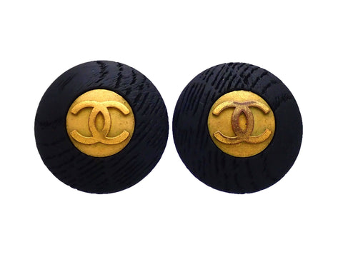 Authentic vintage Chanel earrings Black Wood Gold CC logo Round
