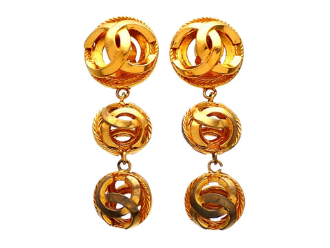 Authentic vintage Chanel earrings Gold CC logo Ball Dangled