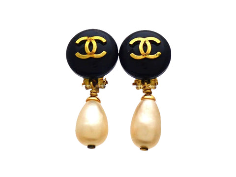 Authentic vintage Chanel earrings CC logo Round Faux Pearl Drop Dangled