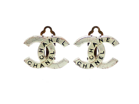 Authentic vintage Chanel earrings Silver CC letter logo Double C